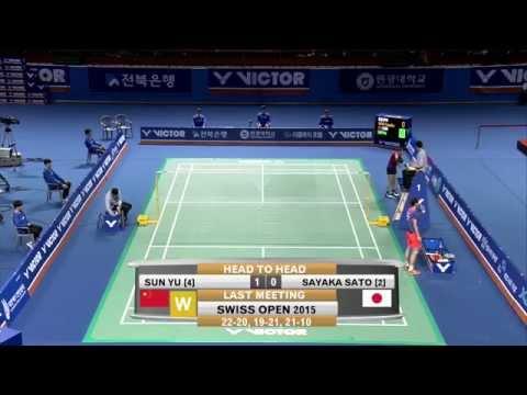 Jeonju Victor Korea Masters 2015   Badminton F M4-WS   Sayaka Sato vs Sun Yu