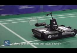 Robot badminton battle at south China sports festival