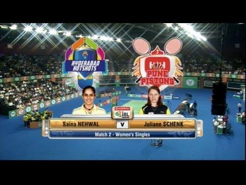 Schenk Juliane Vs Saina Nehwal | Women's Singles | Pune Pistons Vs Hyderabad Hotshots 2013
