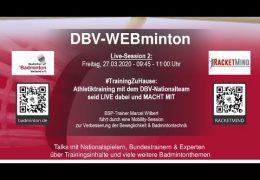 DBV-WEBminton #TrainingZuHause Freitag, 27.03.2020; 9:45 Uhr